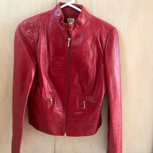 Cache Leather Jacket Animal Print Bomber Chic